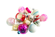 Vintage Indent Christmas Ornaments, Ornate Stencil Ornaments, Ombre Pink