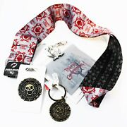 Disney Parks 4pc Pirates Of The Caribbean Lanyard Gold Medallion Keychain Pin
