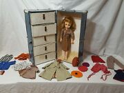Vintage Ideal Vt-18 Doll 17 With Clothes 30 Pieces And Original Case No Key
