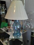 Large New Vintage Italian Murano Salviati Blue And Green Table Lamp