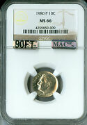 1980-p Roosevelt Dime Ngc Mac Ms66 90ft Pq Very Rare 5000 For A Ft