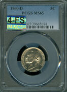 1960-d Jefferson Nickel Pcgs Ms65 4-fs Very Mac Finest And Spotless 10,000 In Fs.