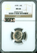 1970 Roosevelt Dime Ngc Mac Ms66 90ft Finest Graded Rare Pop-2 3000.00 In Ft