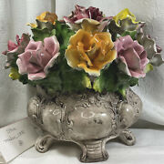 Vintage Capodimonte Made In Italy Large Flower Bouquet Centre Piece Roses
