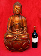 Large Antique Gilt Lacquer Carved Wood Buddha Vietnam Indo-chine Vietnamese