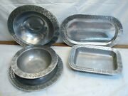 Wilton Armetale Reggae Pattern Pewter Serving Bowl Plate Charger Dishes Platter
