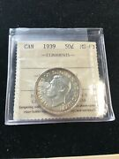 1939 Iccs Graded Canadian 50 Cent Ms-63