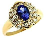 1.58ct Diamond And Aaa Tanzanite 14kt Yellow Gold 3d Oval And Round Flower Love Ring