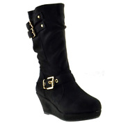 Maden 4k Girls Triple Buckle Accent Slouchy Wedge Boot