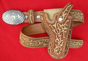 Minty Antique Custom Hand Embroidered Pitiado Matching Pistol And Holster Gun Rig