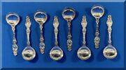 8 Antique Gorham Whiting Sterling Silver 209.1 Grams Lily 5 Inch Bullion Spoons