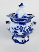 Large Antique Flow Blue Amoy Sugar Bowl By Davenport Circa 1840and039s