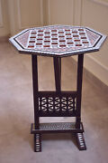 Antique Chess Mother Of Pearl Inlaid Table Beech Wood 19