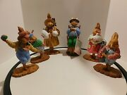 Dept 56 Lot Of 6 Easter Bunny Figurines Rare Village Collection