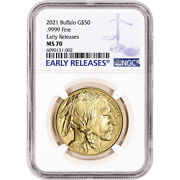 2021 American Gold Buffalo 1 Oz 50 - Ngc Ms70 Early Releases