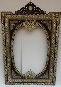 4 Feet Height Morocco Handmade Wood Wall Hanging Mirror Frame With Oval Mirror