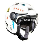 Royal Enfield Multi Decal Open Face Helmet Gloss White - Express Shipping