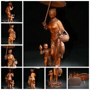 Old Chinese Antique Wooden Statue Carvings Boxwood Women Ladies Kids Children