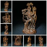 Old Chinese Antique Wooden Statue Carvings Boxwood Dharma Wooden Buddha Wood
