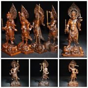 Wooden Indian Statue Buddha Antique Boxwood Carvings Carved Decorative Sculpture