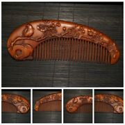 Old Chinese Antique Wooden Statue Carvings Boxwood Comb Makeup Tools Women Girl