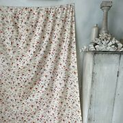 Vintage Curtain Shabby Chic Faded French Floral Textile Pinks Cotton