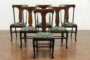 Set Of 6 Oak Antique Craftsman Or Farmhouse Dining Chairs New Upholstery 36108