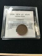 1874 Usa, Small One Cent, Indian Head