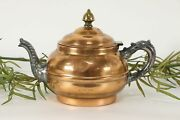 Antique Copper Tea Kettle Pewter And Brass Mounts Rochester 36615