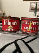 Vintage 1952 Folgerand039s And Hills Bros Tin 1 Lb Coffee Tin Can 1922 W Lid A