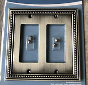 Beaded Brushed Satin Pewter Switch Plate Toggle Duplex Outlet Rocker Wallplate