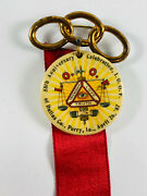 Antique 1907 Odd Fellows Ioof Perry Iowa Ribbon Pin Celluloid Medal