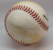 Mickey Mantle Billy Martin Whitey Ford Phil Rizzuto Signed Baseball Amco 10967