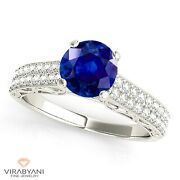 1.35 Ct. Genuine Blue Sapphire Vintage Ring With 0.35 Ct. Diamond 14k White Gold