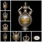 Old Beijing Chinese Snuff Bottle Box Gifts Antique Carving Gilding Lovers Statue