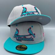 St. Louis Cardinals Basic 59fifty New Era Gray And Teal Hat