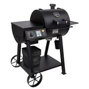Rider 600 Wood Pellet Grill In Black With Rubber Handle And Removable Ash Cup