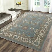 Traditional Hand-knotted Oushak Wool Lt Blue-ivory- 8and039x10and039|9and039x12and039|10and039x14and039|12and039x15