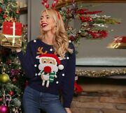 Navy Christmas Pompoms Details Cute Casual Sweaters For Women Winters Round Neck