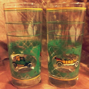 Antique Cars Glass Set Of 2 Vintage 6.5 Tall Classic Automobiles