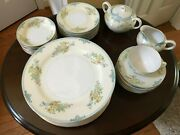 China, Gold Castle Vintage Porcelain, White With Floral Sprays, Pale Blue Band