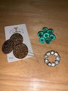 Vintage Mixed Lot Antique Buttons Rhinestone Paste Brass Metal Sewing