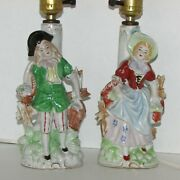 Occupied Japan Vintage Dresser Table Lamps Hand Painted Man And Woman 1940s Pair