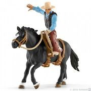 New In Box Schleich 41416 Saddle Bronc Riding With Cowboy Set