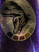 Vintage Rare Johnson Held Large Multi Stone Inlay Hand Crafted Belt Buckle