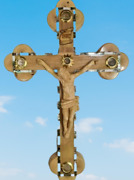 Olive Wood Mother Of Pearl Shell White Crucifix Holy Land Bethlehem Souvenir