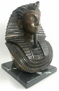 Vintage Art Deco Egyptian Revival Pharaoh Bronze Sculpture With Marble Base Cool