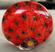 Art Glass Paperweight Peacock Round Red Green Spots Figural Bird Ladybug