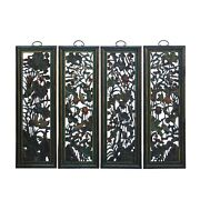 Chinese Color Painted Flower Birds Fishes Wooden Wall 4 Panels Set Cs6052