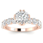 1.73ct D-si1 Diamond Vintage Engagement Ring 18k Rose Gold Any Size